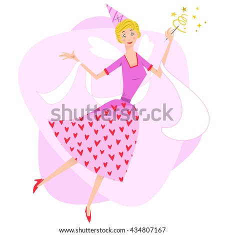 Pink fairy woman floating, holding a sparkling magic wand (Fifties style) - stock vector