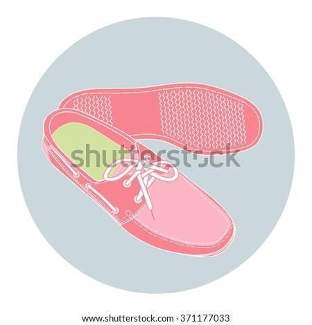 pink fashion shoe. vector icon - stock vector