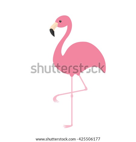 Pink flamingo. Exotic tropical bird. Zoo animal collection. Cute cartoon character. Decoration element. Flat design. White background. Isolated. Vector illustration  - stock vector