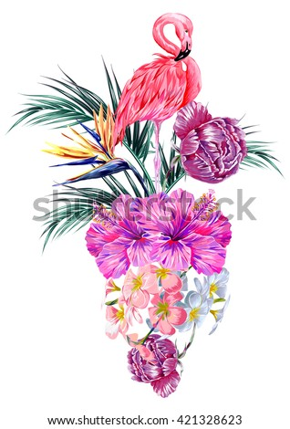 Pink flamingo, tropical flowers, palm leaves, hibiscus, bird of paradise flower, peonies. Beautiful vector floral illustration isolated on white background - stock vector