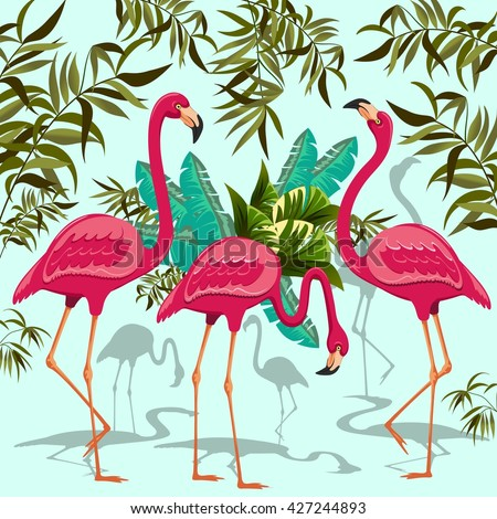 Pink Flamingos Exotic Birds. Decorative Group of Three Flamingos and Exotic Plants - stock vector