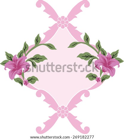 Pink flora, retro design on picture frame. - stock vector