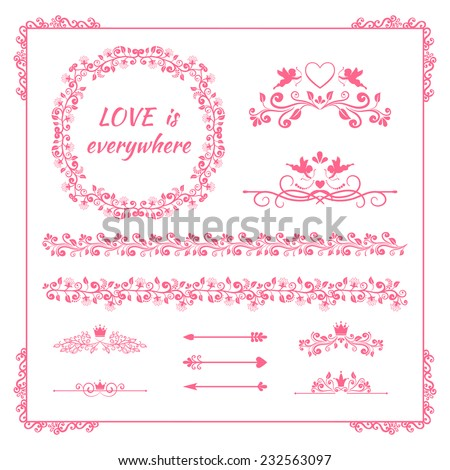 Pink floral frames and borders with crowns and cupids for birthday card and wedding invitations design elements for little princess, glamour girl and woman - stock vector