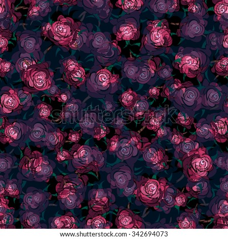 pink floral pattern, dark roses seamless vector, abstract flowers on black background - stock vector