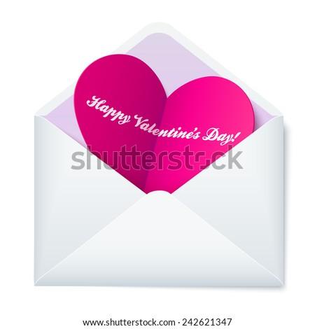 Pink folded heart in white paper envelope - stock vector