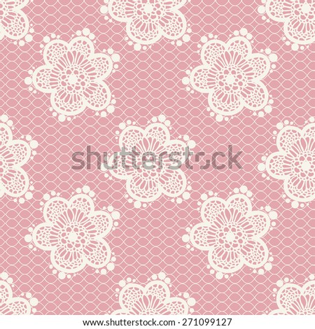 Pink gentle seamless floral lace pattern, vector - stock vector