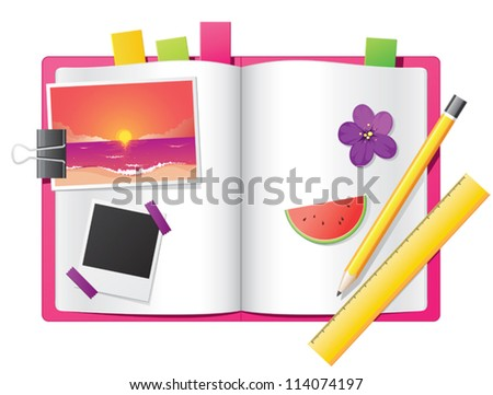 Pink girl's diary with pencil and ruler - stock vector