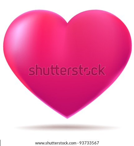 Pink glossy heart isolated on white background - stock vector