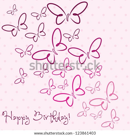 Pink hand drawn Happy Birthday butterfly card in vector format. - stock vector