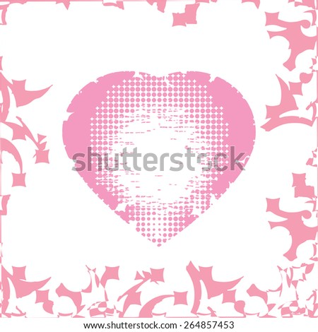 Pink Heart Background. Illustration - stock vector