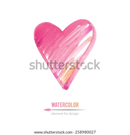 pink heart, vector watercolor element for design - stock vector