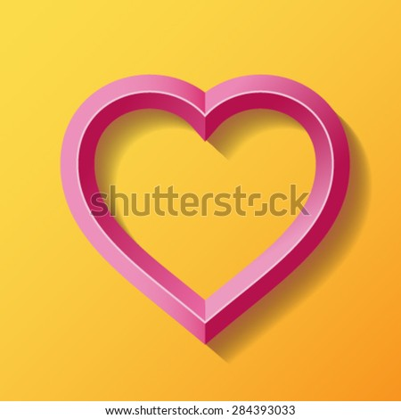 Pink heart with bevel - stock vector