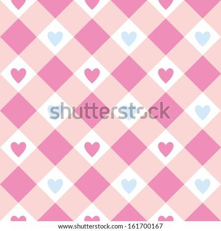 Pink hearts seamless background - stock vector