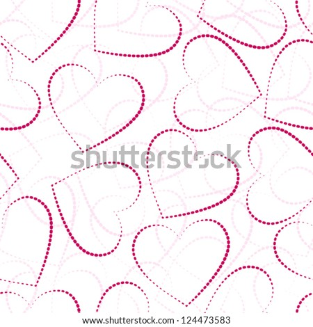 pink hearts, seamless valentine-s day background, eps 10 - stock vector