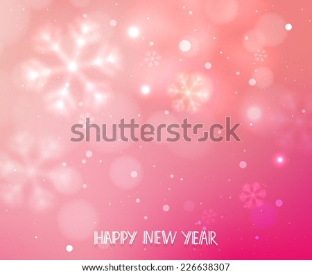 Pink horizontal winter blurry vector background with snowflakes, template backdrop for winter  holidays design  - stock vector