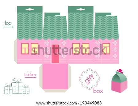 Pink house gift box. Template for gift box in a form of cute house. Easy for installation - light grey parts of template are for glue. Two holes in top of box for ribbon. Label for special text. - stock vector