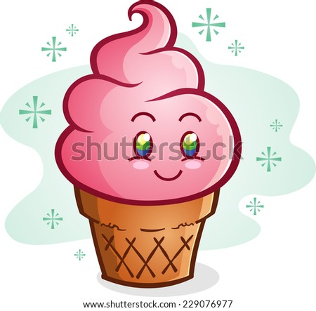 Pink Ice Cream Cone Cartoon Character - stock vector