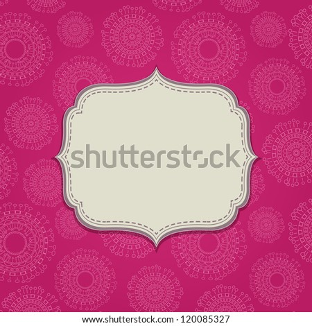 Pink Invitation Card with Blank Label and Abstract Circle Pattern. Space for Text - stock vector