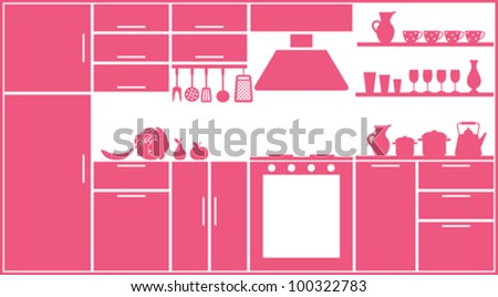 Pink kitchen silhouette - stock vector