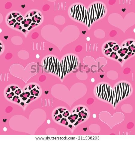 pink leopard zebra pattern vector illustration - stock vector