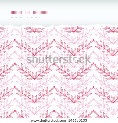 Pink lineart leaves chevron horizontal torn seamless pattern background - stock vector