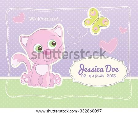 Pink little kitten - Birth announcement for a baby girl - stock vector