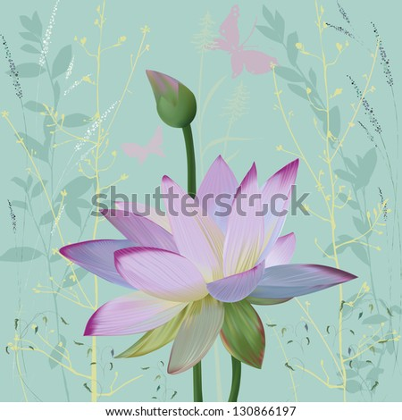 Pink lotus over abstract background with silhouettes plants. - stock vector