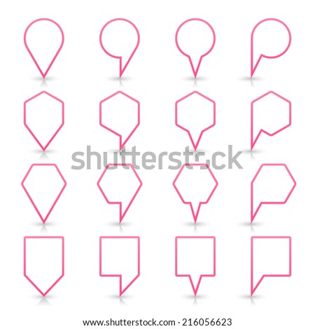 Pink map pin sign location icon with gray reflection and shadow isolated on white background  in simple flat style. This web design element save in vector illustration 8 eps - stock vector
