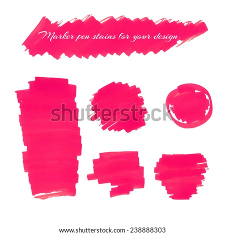 Pink marker pen spots and lines for your design. - stock vector