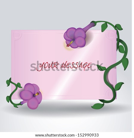 Pink message board framed with purple flowers - stock vector