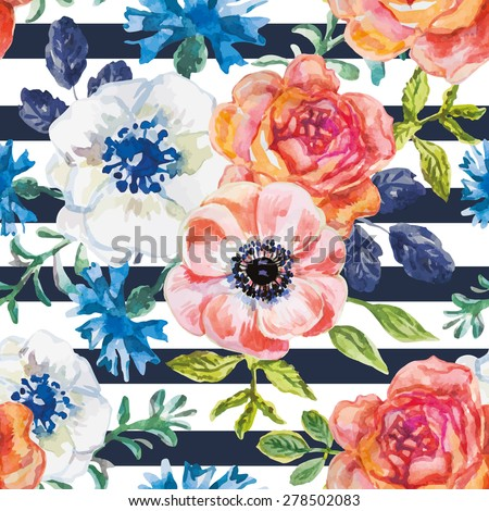 Pink, orange, white and blue flowers with green and blue leaves on the striped background. Watercolor seamless pattern with summer flowers. Roses, ranunculus and cornflowers. - stock vector
