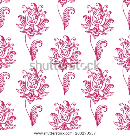 Pink persian or indian paisley floral seamless pattern for background, textile or interior design - stock vector