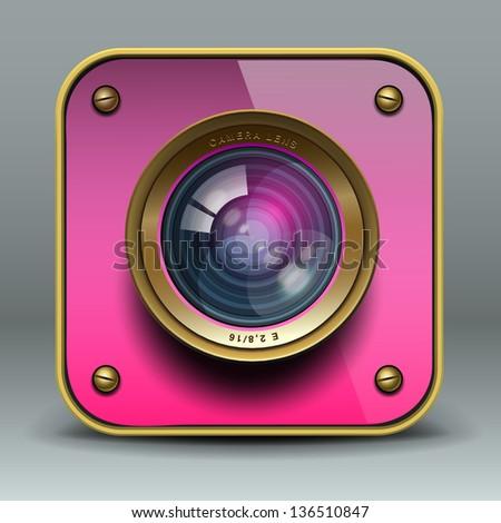 Pink photo camera icon, vector illustration. - stock vector