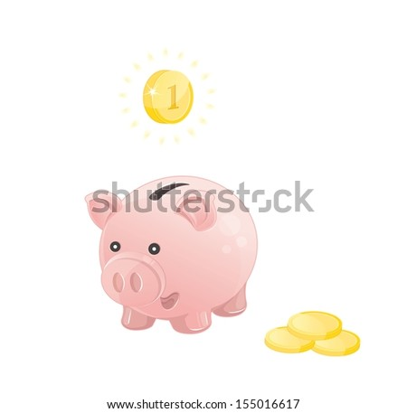 pink piggy bank with coins - stock vector