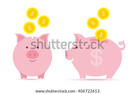 Pink piggy bank with falling golden coin. Dollar coin. Flat coin. Save coin, Coin concept. Coin on white. Vector coin. Illustration coin. cartoon coin. moneybox and coin. isolated coin. - stock vector