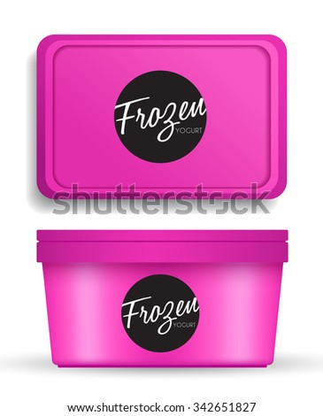 Pink Plastic Bucket : Ice cream or Yogurt Container : Vector Illustration - stock vector