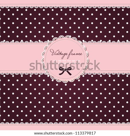 Pink polka dot card with frame and lace - stock vector