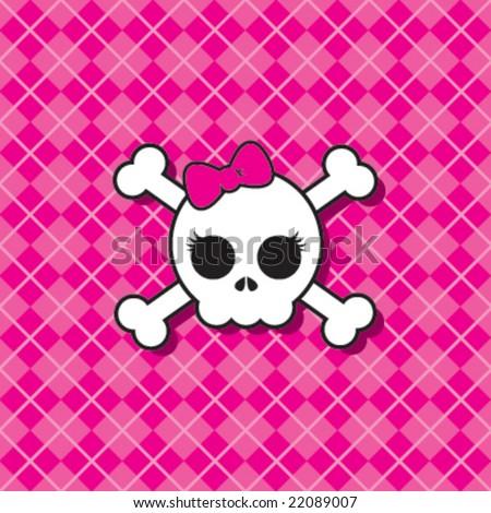 Pink Punk Skull - stock vector