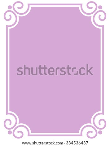 Pink purple border frame deco vector art simple line corner - stock vector