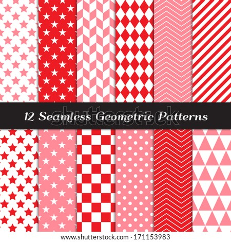 Pink, Red and White Geometric Seamless Patterns. Valentine's Day Background in Diamond, Chevron, Polka Dot, Checkerboard, Stars, Triangles, Herringbone and Stripes. Pattern Swatches with Global Colors - stock vector