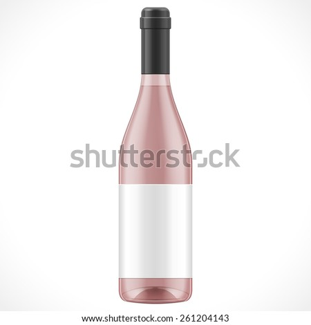 Pink Red Brown Glass Wine Cider Bottle On White Background Isolated. Illustration Isolated On White Background. Mock Up Template Ready For Your Design. Vector EPS10 - stock vector