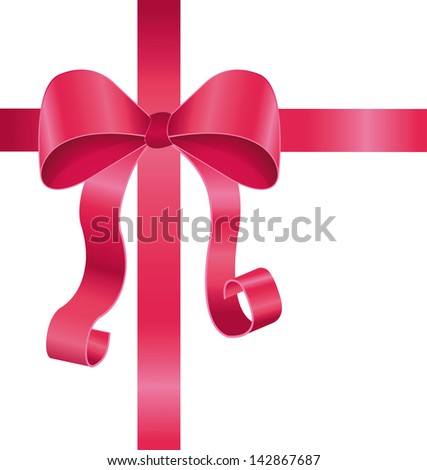 Pink ribbon and bow vector illustration isolated on white background - stock vector