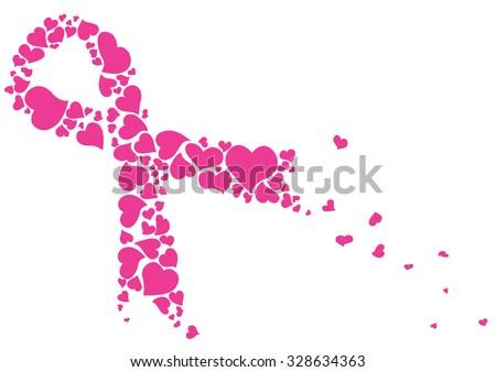 Pink ribbon made of hearts vector. Breast cancer ribbon awareness. - stock vector
