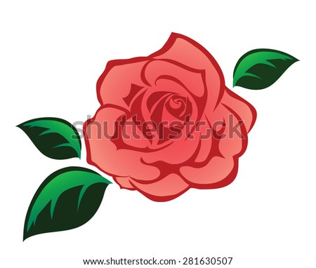 Pink rose illustration isolated on white - stock vector