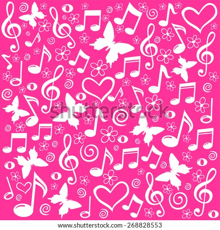 pink seamless pattern wallpaper of musical notes. Vector Illustration - stock vector