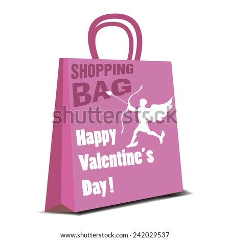 Pink shopping bag with cupid and the text Happy Valentine's Day written with white letters - stock vector