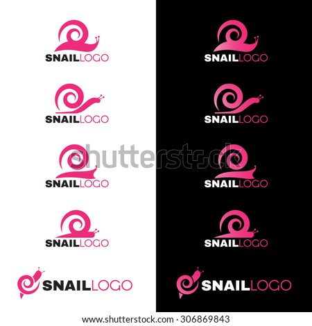 Pink Snail line logo vector on white and black background - stock vector