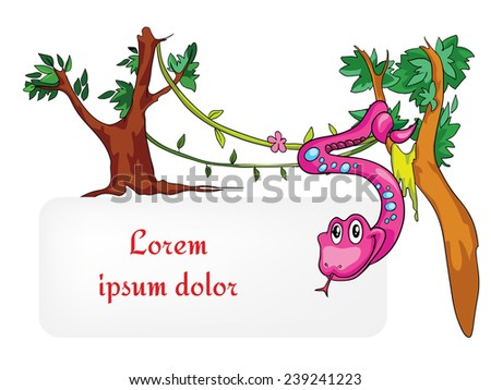 pink snake in a tree vector illustration on a white background with place for text - stock vector