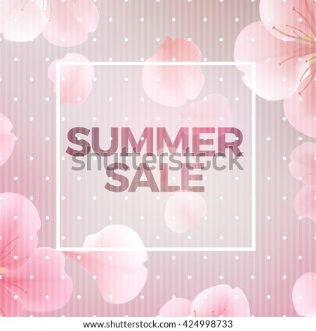 Pink soft floral background with frame and Summer Sale text, vector illustration. Modern style vector soft summer floral illustration background - stock vector