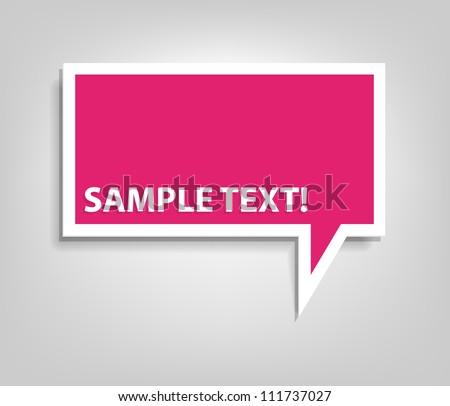 pink speech bubble - stock vector